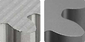 A comparison between a part as-milled and bead blasted